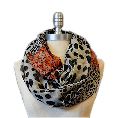 SCARF_TRADINGINC Animal printed Infinity Loop Scarf Cowl (Leopard Beige Orange) ()