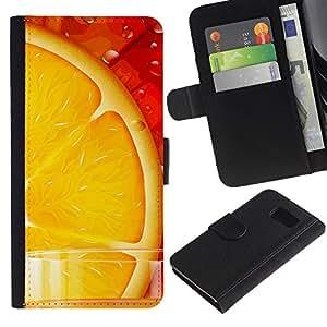 Be Good Phone Accessory // Caso del tirón Billetera de Cuero Titular de la tarjeta Carcasa Funda de Protección para Samsung Galaxy S6 SM-G920 // Orange Juice Fresh Fruit Food Healthy Red