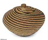 NOVICA Hand Beaded Beadwork on Rattan Storage Container, Brown 'Earth Currents'