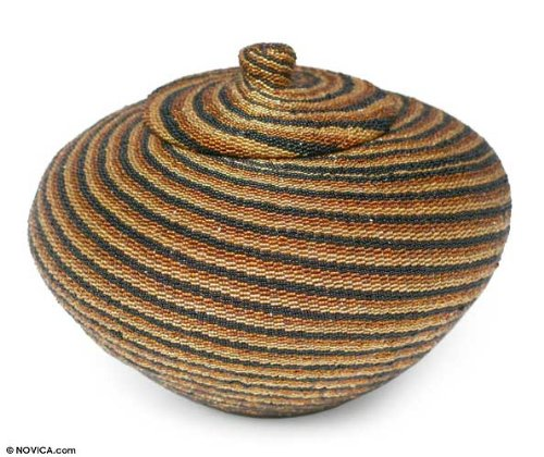 NOVICA Hand Beaded Beadwork on Rattan Storage Container, Brown 'Earth Currents' by NOVICA