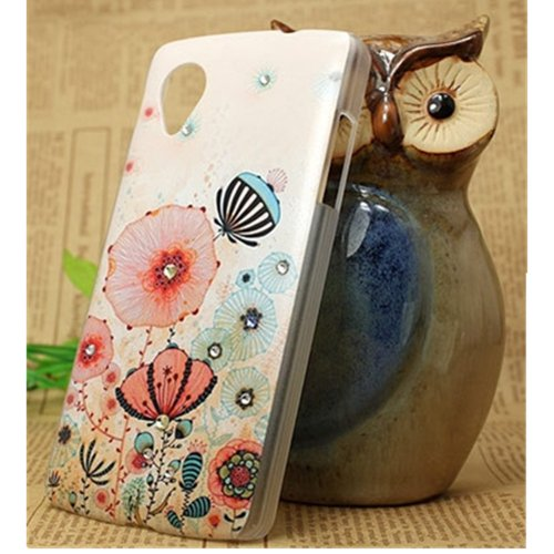 EVTECH(TM) Painted Rhinestone Series Flower Sea Handmade Crystal Rhinestone Heart Diamond Bling Cover Soft Faceplate PC Case for Google Nexus 5