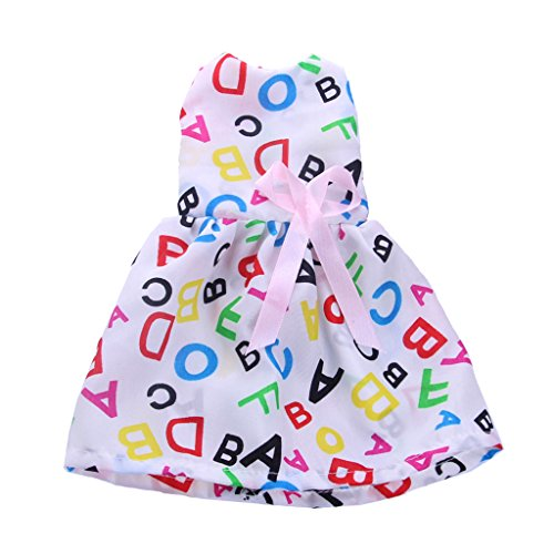 Jili Online Princess 14 inch Dolls' Clothing Costume Alphabets Sleeveless Dress Clothes for American Girl Wellie Wishers Doll Accessories