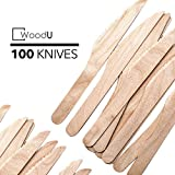 WoodU Disposable Wooden Knives Natural Birch Wood Biodegradable Knife Utensils Cutlery Eco-Friendly Green (100)