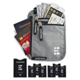 Zero Grid Neck Wallet w/RFID Blocking- Concealed Travel Pouch & Passport Holder (Ash)