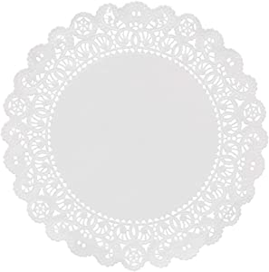 Hygloss Products Round Paper Doilies - Decorative, White Lace Disposable, Food Grade Safe, 8 Inches Diameter, 100 Pack