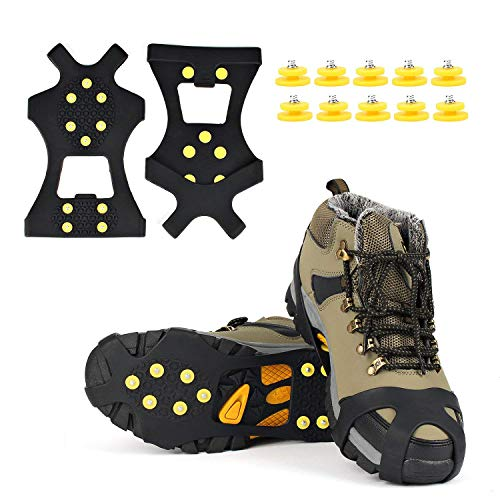 Gpeng Ice Grips, Traction Cleats Ice Cleat Snow Grippers Non-Slip Over Shoe/Boot Rubber Spikes Crampons Anti Slip Durbale 10 Steel Studs Crampons Slip-on Stretch Footwear