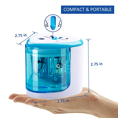 Electric Pencil Sharpener,Heavy duty Blades Durable and Portable Pencil Sharpener with Automatic Sharpens All Pencils for School Kids Children ,Blue Pencil Sharpener Electric Photo #3