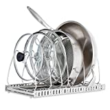 1208S Pot Lid Organizer, Adjustable Pan Rack Cookware Organizer for Cabinet, Stainless Steel