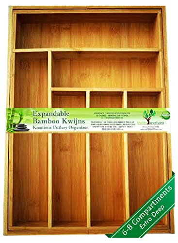 SOLID DEEP Wide Expandable Bamboo Drawer Organizer, Premium Cutlery and Utensil Tray, 100% Pure Bamboo, Adjustable Kitchen Drawer Divider (Compartments - Cabinets 18 Kitchen Deep