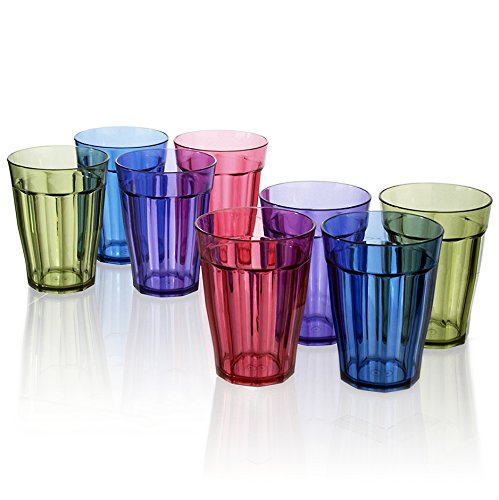 Rhapsody Premium Quality Plastic 12oz Water Tumblers | set of 8 in 4 Assorted Colors