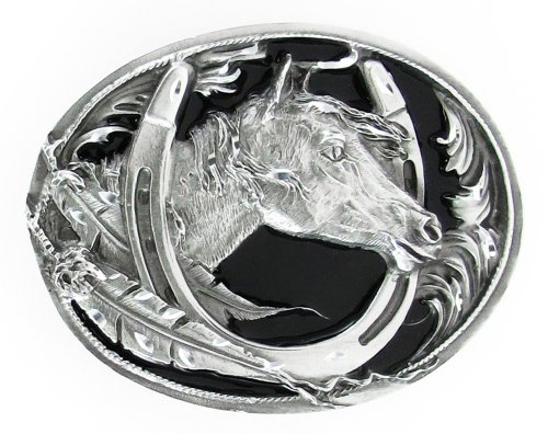 Diamond Cut Belt Buckles Horses - Pewter Belt Buckle - Horse Head in Horseshoe (Diamond Cut)