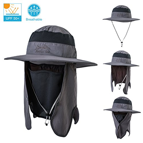 LCZTN Fishing hat for Men & Women,Outdoor Sun Protection hat, Breathable Wide Brim Boonie Hat with Removable Face & Neck Flap,Bucket hat for Fishing,Hiking,Camping&Boating(Dark Gray)