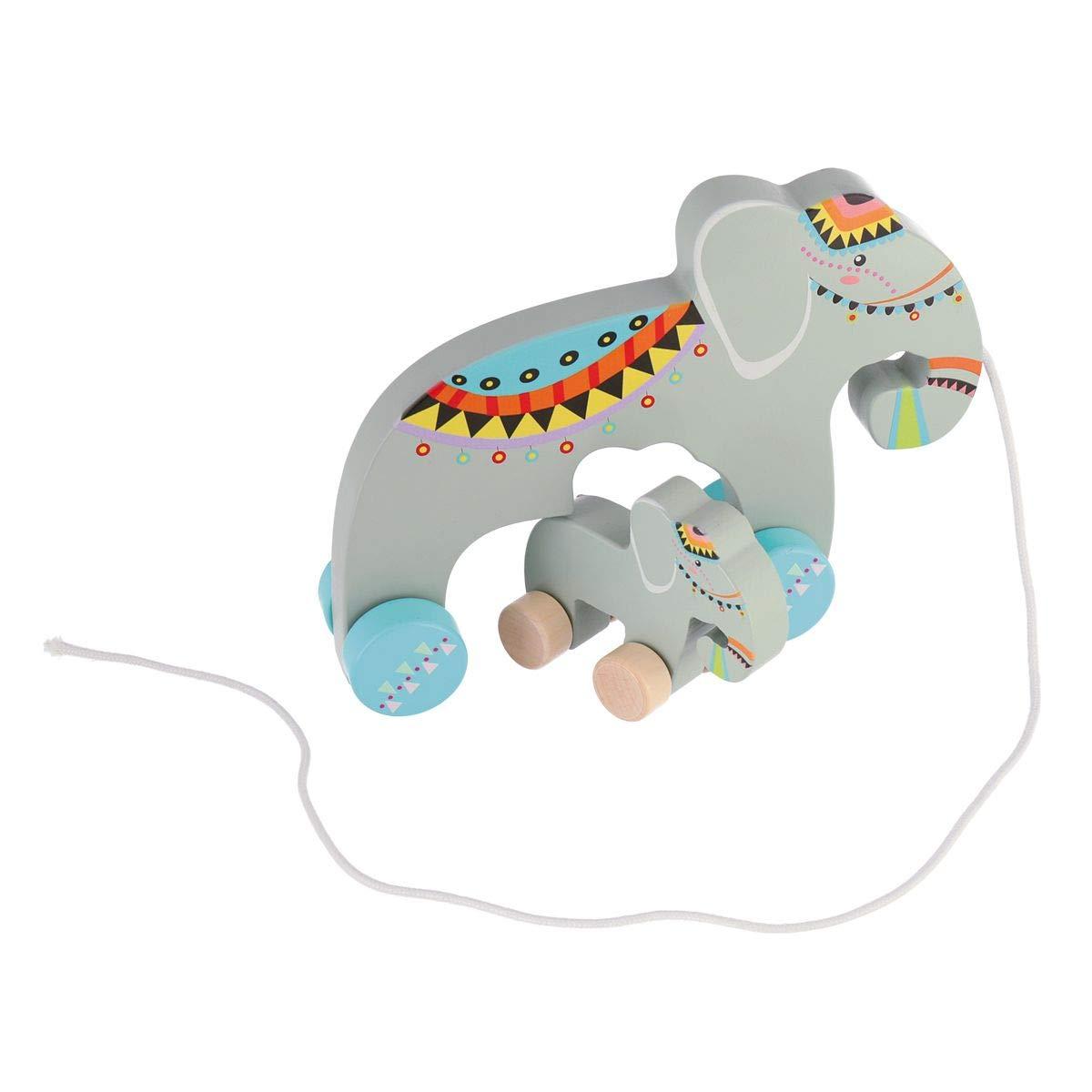 Nachziehelefant mit herausnehmbaren Elefantenbaby Holzspielzeug zum hinterherziehen Nachziehspielzeug f/ür Kinder ab 18m+ Bieco 23000077 Nachziehtier Elefant grau lustiger Elefant aus Holz