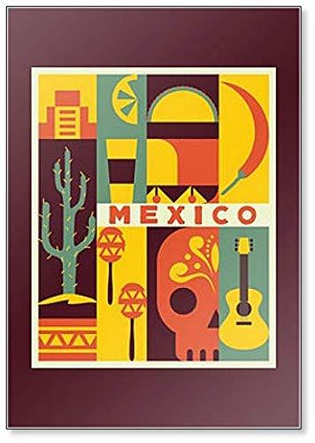Imán para nevera con ilustración de fondo de México: Amazon.es: Hogar