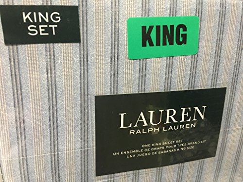 Ralph Lauren 4 pc King Sheet Set Light & Dark Blue & Cream Stripes in Groups of 3