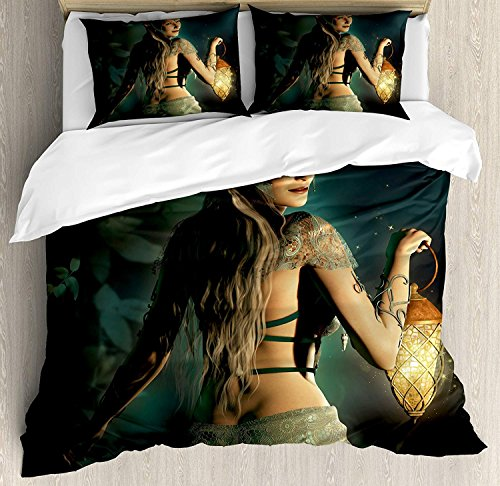 Fairy 4 Piece Bedding Set Duvet Cover Set Twin Size, Elf Princes with Lantern in Mysterious Forest Ornamental Elements Enchantment, Luxury Bed Sheet for Childrens/Kids/Teens/Adults, Petrol Blue Beige ()