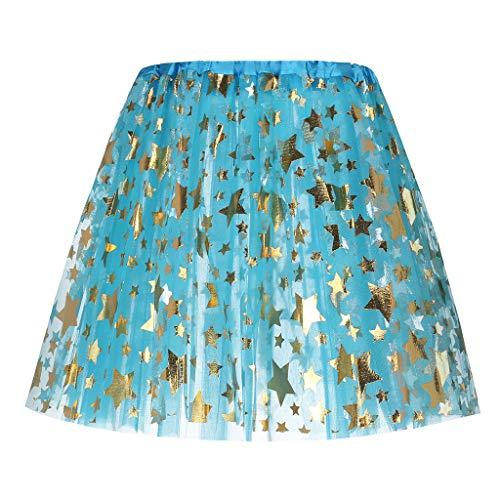 POQOQ Tulle Ballet Skirt Star Elastic 3 Layered Short Skirt Adult Tutu Women Pettiskirt Sky -