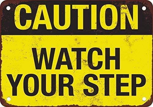 (Precaución Reloj su paso, diseño clásico de reproducción Tin Sign - Placa de Metal 30 x 40 cm)