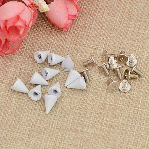 (7mm Metal Bullet Spikes Studs Rivets Cone Screwback Alloy Leathercraft 10 Pcs (Color - White))