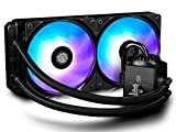 DEEPCOOL Gamer Storm Captain 240 RGB FAN CPU Liquid Cooler with RGB 2×120mm Fans and RGB Waterblock, AM4 Compatible, 3-year Warranty