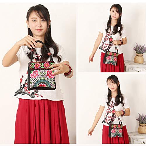 Handbag Travel Boho Homyl Vintage described Shoulder C Ethnic Bags as Style Bag Canvas B Embroidery Hawq1z