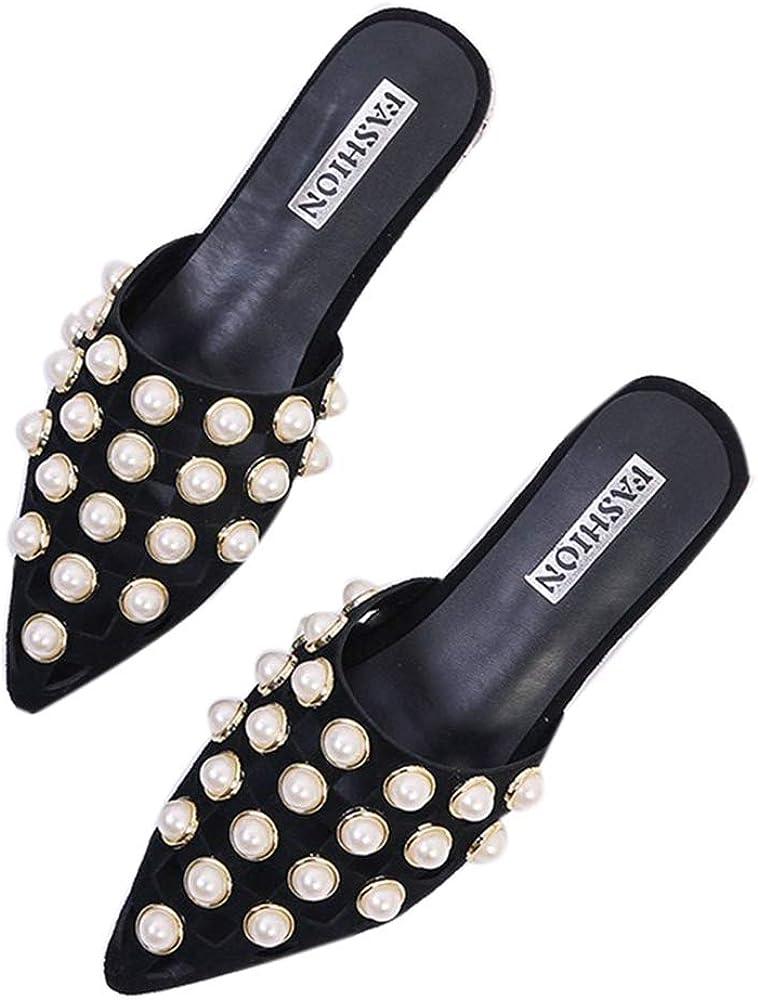 heipeiwa Womens Mules Flat Sandals Fashion Pearl Beads Cutout Slip on Mule Shoes