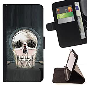 Momo Phone Case / Flip Funda de Cuero Case Cover - Skull Abstract Goth Art - Sony Xperia Z1 L39