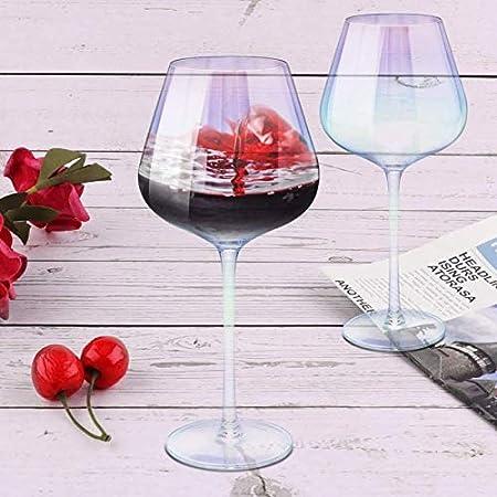 Yuansr Copas de Vino 22 onzas de Vino Largo Vino Rojo Vino Blanco Conjunto de Copa de Vino de 2 manuales de Cristal de Cristal de Cristal Lujo Iridiscente para Regalos de Fiesta de cumpleaños de Boda
