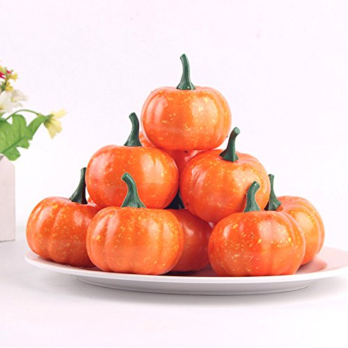 Pack of 16 Fake Fruit Home Kitchen Small Squash Fake Artificial Foam Mini Orange Pumpkin Halloween house Decoration (16, 2.2 Inch) by HappySUN (Image #2)