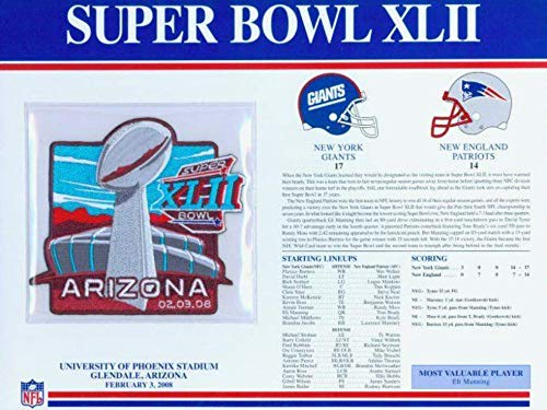 Super Bowl XLII 42 Official Patch New York Giants vs. New England Patriots at U of Phoenix - Stadium Phoenix