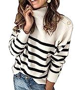 Asvivid Striped Turtleneck Button Knit Sweaters for Women Lightweight Long Sleeve Knit Pullover J...
