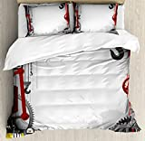 Ambesonne Industrial Duvet Cover Set King Size, Engineering Themed Gears Levers Pipes and Meters Flue Lifting Crane, Decorative 3 Piece Bedding Set with 2 Pillow Shams, Orange Grey Yellow