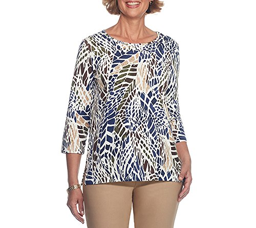 Alfred Dunner Petite Blouse (Alfred Dunner Petites' Mosaic Animal Printed Knit Top Petite Small)