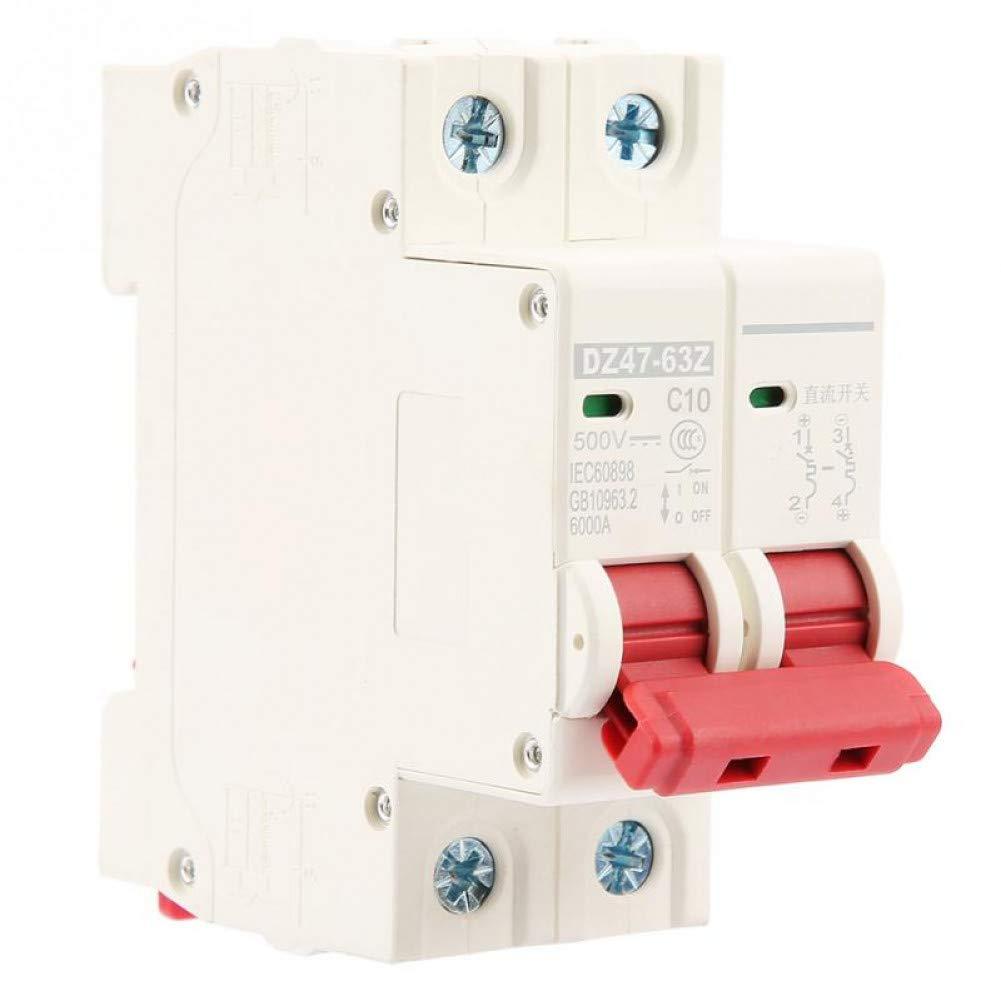 2P DC 500V 20A Circuit Breaker MCB Safety Overcurrent Breaker DZ47-63Z-2P