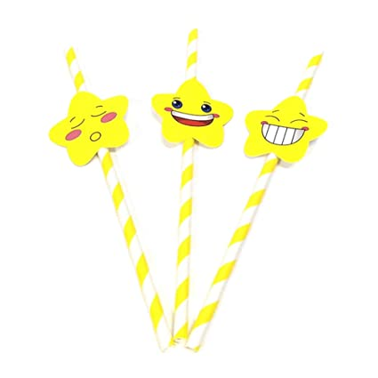 Bestomrogh 30pcs Pailles De Papier Décoration De Fête Smiley
