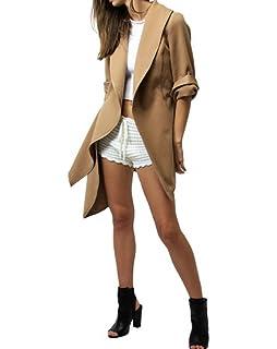 2bb8b0ee9766ef Cystyle Damen Pullover Beige Langarm Asymmetrisch Strickjacken Cardigan  Mantel Jacke