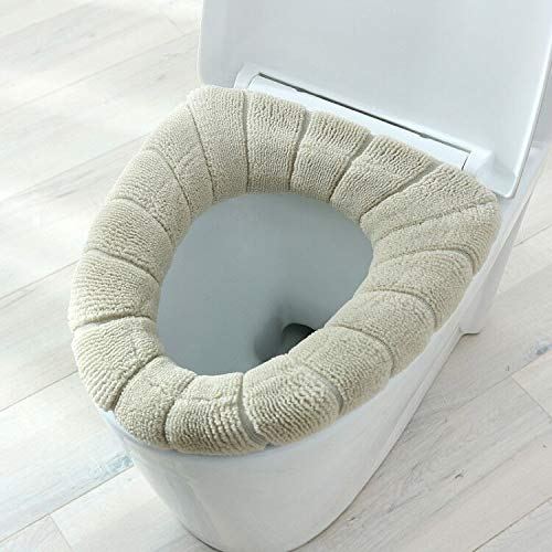 1 Stks dikker warm pompoen patroon wc-bril deksel ronde vorm pure kleur toilet stoel cover voor toilet (kleur: kaki)
