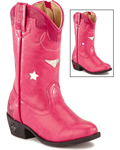 Smoky Mountain Girls' Stars Light Up Boot Hot Pink 9 D(M) US -