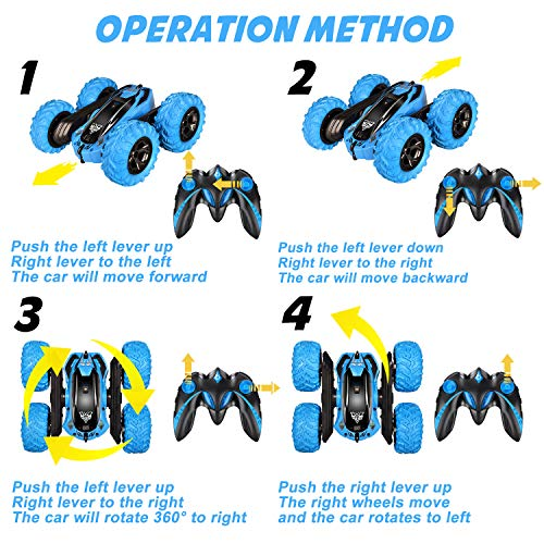 Remote Control car,2.4GHz Electric Race Stunt Car,Double Sided 360° Rolling Rotating Rotation, LED Headlights RC 4WD…