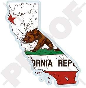 California California Estado map-flag EE. UU., América, 4.3mm) (vinilo Bumper, adhesivo