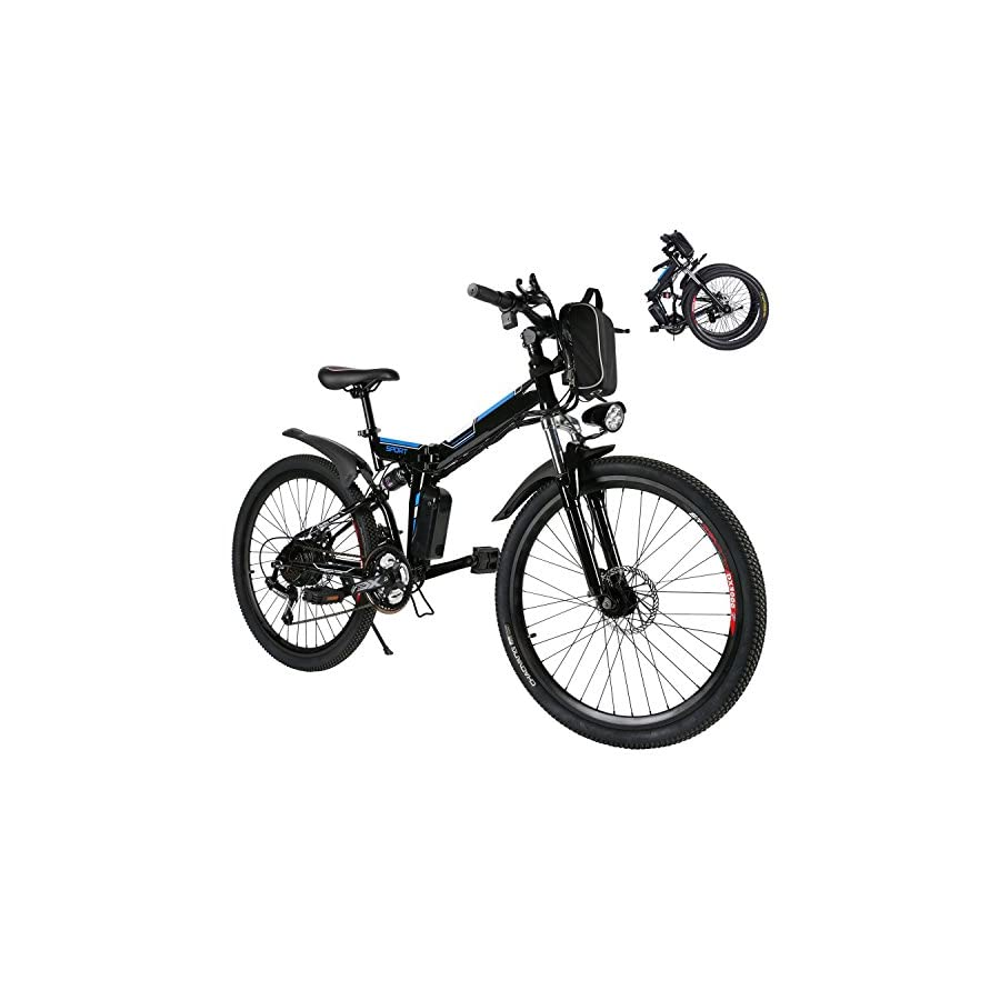Kaluo Folding Electric Mountain Bike, 26 Inch Wheel, Lithium Ion Battery, Dual Suspension and Shimano Gear, 2 Working Mode (US Stock)