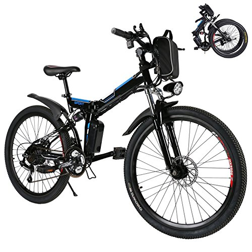 Kaluo Folding Electric Mountain Bike, 26 Inch Wheel, 36V 250W Lithium-Ion Battery, Premium Full Suspension and Shimano Gear, Men's Mountain Bicycle with LED Light and Horn(US STOCK) (Black)