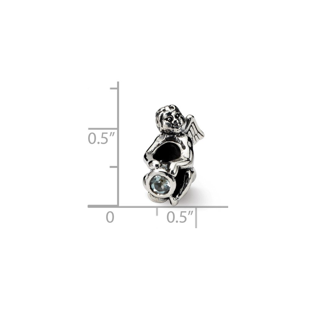 Sterling Silver Reflections March CZ Antiqued Bead Solid 12.73 mm 16.36 mm Stones /& Crystals Beads Jewelry