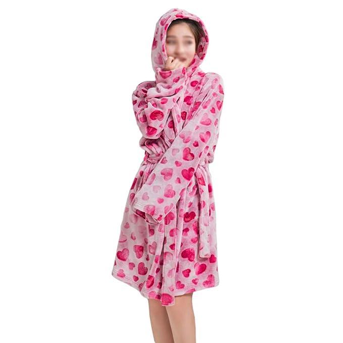 Albornoz De Franela Ladies Winter Coral Fleece con Capucha Batas De Baño Imprimir Pijamas Long Soft Comfort Cálida Bata De Baño Hotel Pool Ropa De Dormir: ...