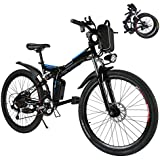 Kaluo Folding Electric Mountain Bike, 26 Inch Wheel, Lithium-Ion Battery, Dual-Suspension and Shimano Gear, 2 Working Mode (US Stock)