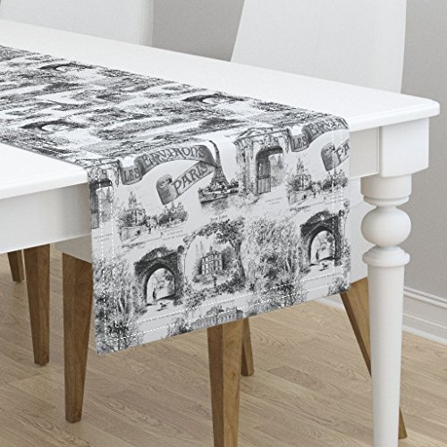 Table Runner - Paris French Toile France Black and White Bw Traditional by Peacoquettedesigns - Cotton Sateen Table Runner 16 x 90
