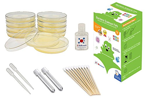 EZ BioResearch Bacteria Science Kit (I) (Gift Pack): Pre-poured LB Agar Plates and Cotton Swabs, E-Book for Science Fair Project with Award Winning Experiments (I Gift Pack)