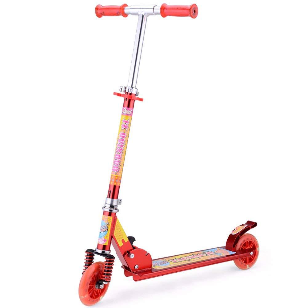 CMXIA Scooter a Due Ruote del Flash del motorino dei Bambini dell'ammortizzatore del Tutto-Alluminio Pieghevole Regolabile di Altezza per 3-10 motorino dei Bambini ( Colore   rosso )