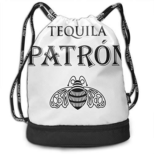 Nooleadel Drawstring Sports Backpack Lightweight Patron Tequila Logo Gym Yoga Sackpack Shoulder Rucksack for Men and Women (Tequila Patron Light)