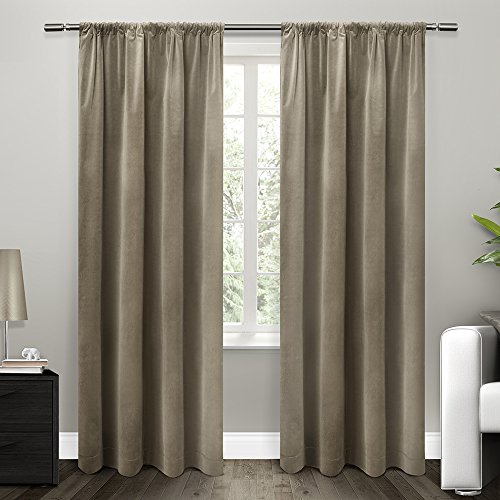 Exclusive Home Curtains Cotton Velvet with Blackout Lining Rod Pocket Window Curtain Panel with Blackout Liner, Taupe, 54x84